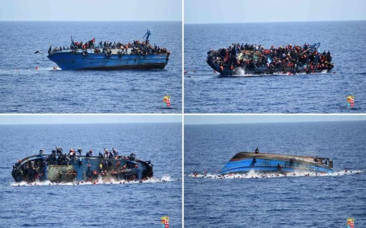 At least seven migrants drowned after the heavily overcrowded boat they were sailing on overturned on May 25 CREDIT- AFP